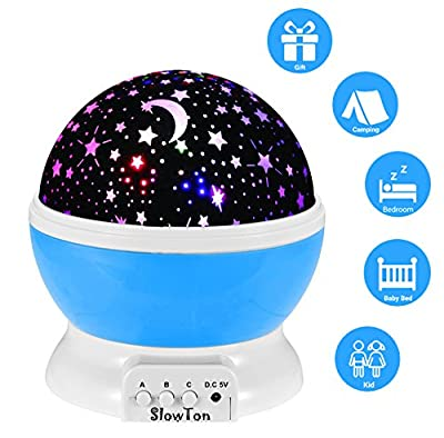 Starry Night Light Lamp, SlowTon Romantic 3 Modes Colorful LED Moon Sky Dreamer Desk Rotating Cosmos Starlight Projector for Children Kids Baby Bedroom