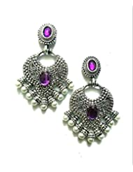 Ethnic Fashion Earrings With Pearl And Coloured Crystals In Silver Finish, Purple