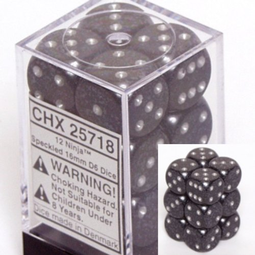 d6 16mm 12 Dice Set Speckled Ninja CHX25718 - 1