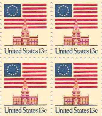 Flag over Capitol Perforated Set of 4 x 13 Cent US Postage Stamps Scot 1622c