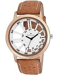 Swisstone CTHRU35-WT-BRW White Dial Brown Strap Transparent Wrist Watch For Men