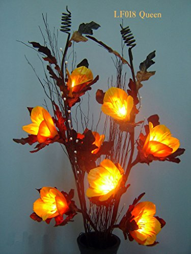 Light Floral Craft Yellow Queen Flowers Lighted Branch with 8 Lights, 39 Inch