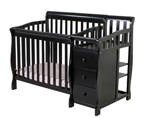 Dream On Me Jayden 4 In 1 Convertible Portable Crib With Changer, Black front-1081258