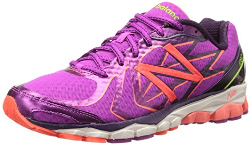 New Balance Women's W1080 Neutral Cushioning Running Shoe,Purple/Yellow,8 D US