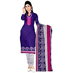 Araham Printed Blue Synthetic Polyester Dress Material/ Unstitched Salwar Suit