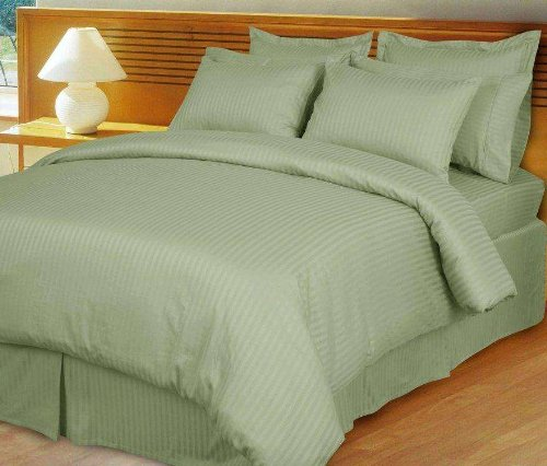 Grandeur Linens 1000 Thread Count Four (4) Piece Olympic Queen Size Sage Stripe Bed Sheet Set, 100% Egyptian Cotton, Deep Pocket front-996570