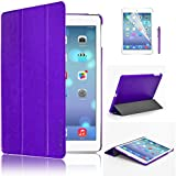 Swees Ultra Slim Apple iPad Air (5th 2013 Version) Case Cover, Full Protection Smart Cover for iPad Air iPad 5 5th With Magnetic Auto Wake & Sleep Function + Screen Protector & Stylus Pen - Purple