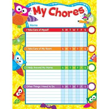 Owl-Stars!TM 25 Chore Charts & 100 Stickers