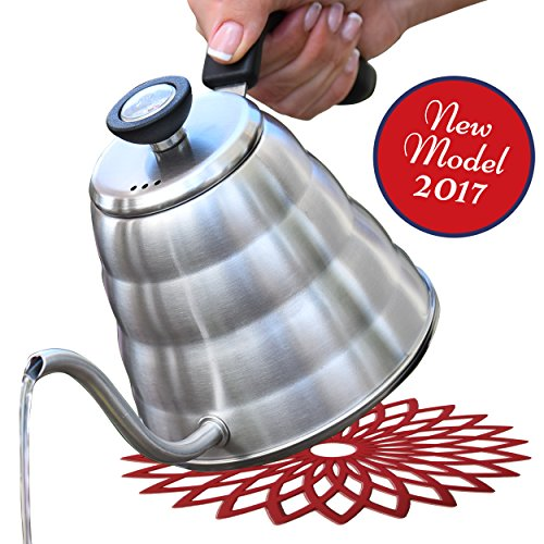 Pour Over Coffee and Tea Kettle1.2L with Thermometer-304 Stainless Steel-Pouring Gooseneck for Barista or Home Brewing-Bakelite Handle for Virtually All Stoves-FREE SILICONE MATT & EBOOK By Wonder Sky (Kettle Hello Kitty compare prices)