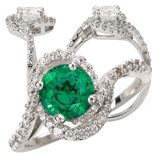 14K Premium Collection Chatham Lab-Created 6.5Mm Round Emerald Engagement Ring With Twisted Diamond Band