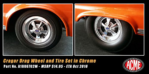 Hemi Bullet Cragar Drag Wheels and Tires Set of 4 Chrome 1/18 by ACME A1806702W (Hemi Bullet compare prices)