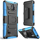 Galaxy Note 4 Case, i-Blason Prime Series Dual Layer Holster For Samsung Galaxy Note 4 [SM-N910S] with Kickstand and Locking Belt Swivel Clip (Blue)