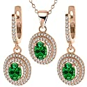 5.35 Ct Green Created Emerald 925 Rose Gold Plated Silver Pendant Earrings Set