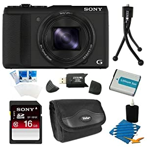 Sony DSC-HX50V/B DSC-HX50, HX50, DSCHX50 20.4MP Digital Camera with 3-Inch LCD Screen (Black) Bundle with 16GB Class 10 High Speed SD Card, Spare Battery, SD Card Reader, Table top Tripod, Camera Case, LCD Screen Protectors, and 3 Piece Lens Cleaner