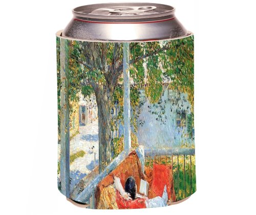 Rikki Knight Childe Hassam Art Beer Can Soda Drinks Cooler Koozie, Couch And Veranda At Cos Cob Design front-585356