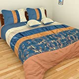 Elan By Anu 200 TC Velvet and Silk Double Bedspread with 2 Pillow Covers and 2 Cushion Covers - Blue & Gray