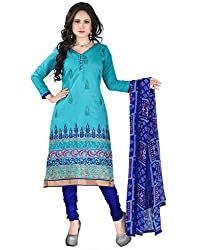 Yehii New Collection Embroidered Turquoise Chanderi Unstitched Branded Dress Materials With Dupatta for Women's party Wear Low Price Best Seller Offer