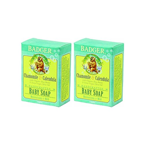 Badger Baby Soap - Organic Chamomile & Calendula, 4 Ounce (Pack of 2) - 1
