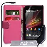Yousave Accessories SE-HA01-Z494C Etui portefeuille en PU/cuir avec Chargeur allume-cigare pour Sony Xperia SP Rose Chaud