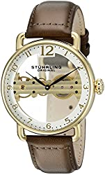 Stuhrling Original Men's 976.03 Bridge Analog Display Mechanical Hand Wind Brown Watch