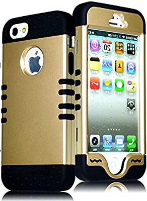 myLife Black - Golden Shield Series (Hypergrip Flex Gel) 3 Piece Case for iPhone 5/5S (5G) 5th Generation Smartphone by Apple (External 2 Piece Fitted On Hard Rubberized Plates + Internal Soft Silicone Easy Grip Bumper Gel)