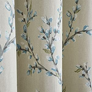 """Trailing Flowers Duck Egg Blue Lined 46"""" X 72"""" - 117cm X 183cm Ring Top Curtains from Curtains"""