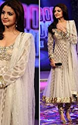 Bikenwear Womens Anushka Sharma Replica Anarkali Suit (VDI9173_Off White Golden_ XL)