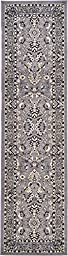 Traditional 3-Feet by 10-Feet (3\' x 10\') Runner Kashan Gray Area Rug