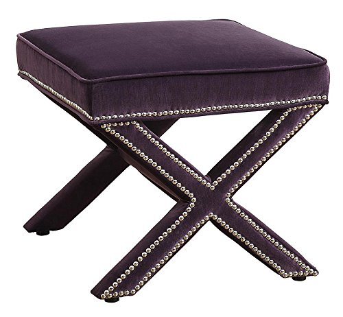 TOV Furniture Reese Velvet Ottoman, Purple