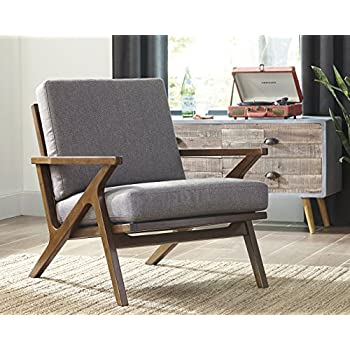 Ashley Furniture Signature Design - Wavecove Accent Chair - Mid Century Modern - Brown Maple-Tone Finish - Beige Linen-Weave Loose Cushion
