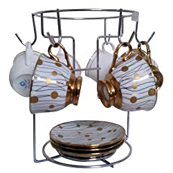 Sterling Large Chrome 6 Cup Rack Coffee Mug Cup Tree Stand