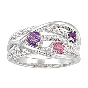 Sterling Silver Amethyst and Pink Tourmaline Ring -