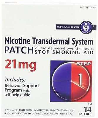 Nicotine Transdermal System Patch, Stop Smoking Aid, 21 mg, Step 1