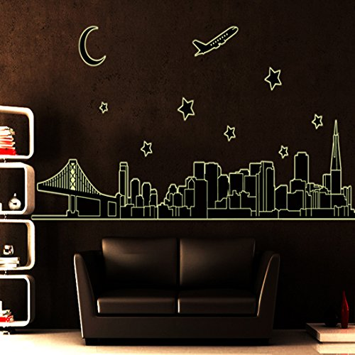 ElecMotive Golden Gate Bridge Glow in the Dark Downtown Cityscape Skyline City Stars Moon Airplane Bridge Building Luminous Fluorescent Night Light City Removable Wall Stickers Wall Decor Home Decor Wall Art Kids Room Bedroom Decor Living Room Decor Sofa TV Background DIY Art Decals - 1