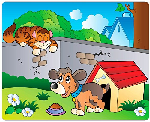 """Rikki Knighttm Cute Dog In Kennel With Cat Illustration Design On 20"""" X 16"""" High Definition Museum Quality Almunimum Print - Metal Art Print - With Floating Block Wall Hangers (Proudly Made In The Usa) front-597329"""