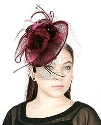 NYfashion101(TM) Cocktail Fashion Sinamay Fascinator Hat Flower Design & Net S102651-Burgundy