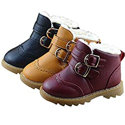 Toddler Baby Boys Girls Boots Faux Fur Winter Warm Shoes Ankle Booties (0-6 Years Kids Children )