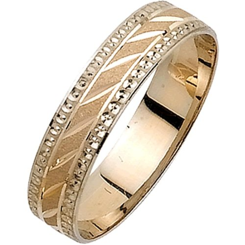 18K Two Tone Gold Basket Weave Men'S Wedding Band (5Mm) Size-10
