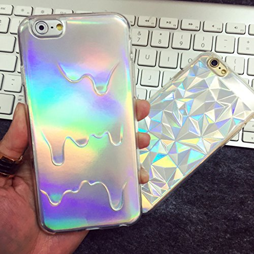 """Hot Stylish 2 In 1 Holographic Iridescent Style 3D Melting Oil Drippy Transparent TPU Cover Case for Iphone 6Plus 6S Plus 5.5"""", Holo Pale Grunge Rainbow Metallic Magic Color Skin Shell (drippy oil)"""