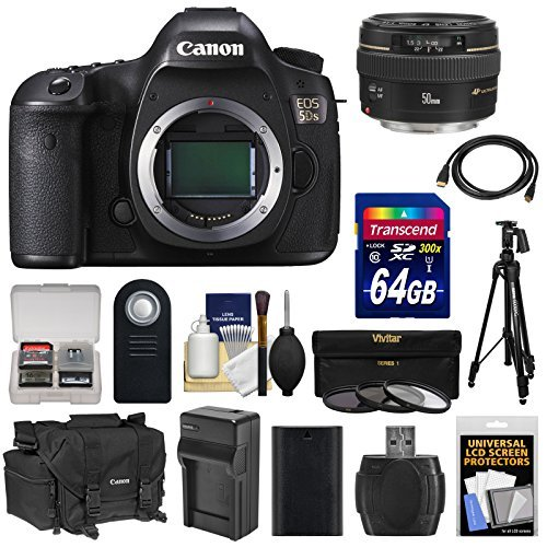 Canon EOS 5DS Digital SLR Camera Body with 50mm f/1.4 Lens + 64GB Card + Battery  &  Charger + Case + Filters + Tripod + Kit