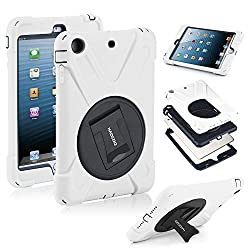 HAOCOO X-Defense Series Heavy Duty Full Shockproof Body Rugged Hybrid Protective Case Cover with Built-in Screen Protector [360 Degree Rotatable] [Multi-Adjustable Stand]for iPad mini 3/ iPad mini 2/ iPad mini,White