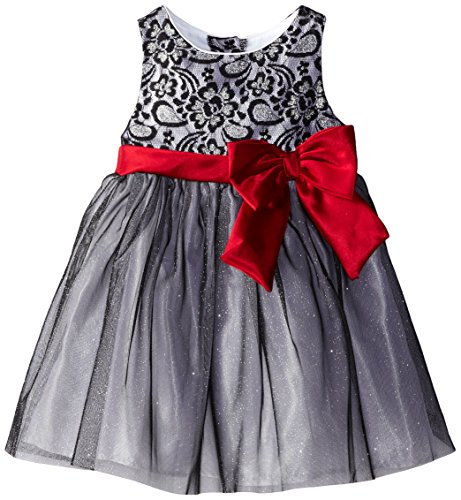 Youngland Little Girls' Lace Top Glitter Occasion Dress, Black/Multi, 4T