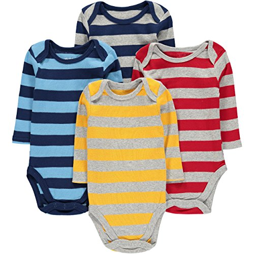 Wan-A-Beez Unisex Baby 4 Pack Long-Sleeve Bodysuits (24 Months, Stripes)