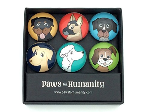 Dog-Magnets-Set-of-6-Decorative-137-Glass-Dog-Lover-Art-for-the-Fridge-Cubicle-Cabinet-Magnetic-Whiteboard-and-Other-Metal-Surfaces-by-Paws-For-Humanity