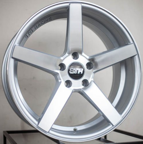SILVER MACHINED FACE STR 607 17X9 +15 5X114.3 RIM FIT TC XB TSX RSX MR2 CIVIC MUSTANG GT (Str Rims 17 Inch compare prices)