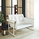 White Retro Veranda Loveseat Glider - Classic Comfort
