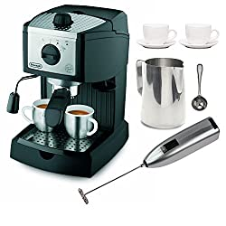 DeLonghi EC155 15 BAR Pump Espresso and Cappuccino Maker Bundle made by Delonghi