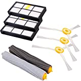 I-clean Replacement Parts for iRobot Roomba 880 870 800 Robotic Vacuum Cleaner (3pcs Hepa Filters, 3pcs Side Brushes, 1 set Tangle-Free Debris Extractor)
