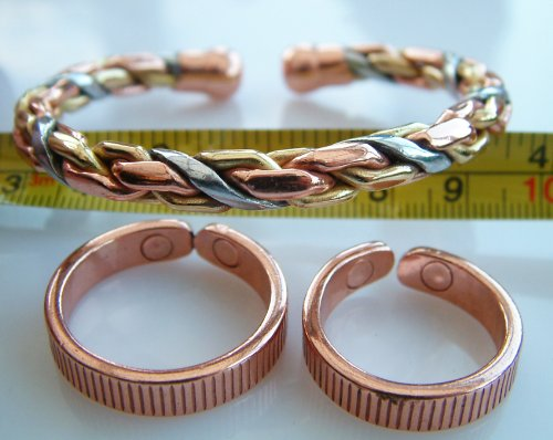 Triple Whammy -Magnetic Therapy Health 36M 3 Colour Copper, Brass, Silver Knitted Wrist Bracelet / Bangle. PLUS 2 x New Design, Magnetic Therapy Rings and a FREE GIFT