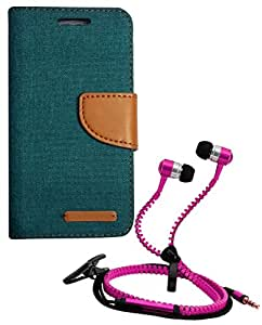 Aart Fancy Wallet Dairy Jeans Flip Case Cover for MeizumM2 (Green) + Zipper Earphones/Hands free With Mic *Stylish Design* for all Mobiles- computers & laptops By Aart Store.